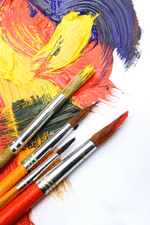 Artist brushes and paint
